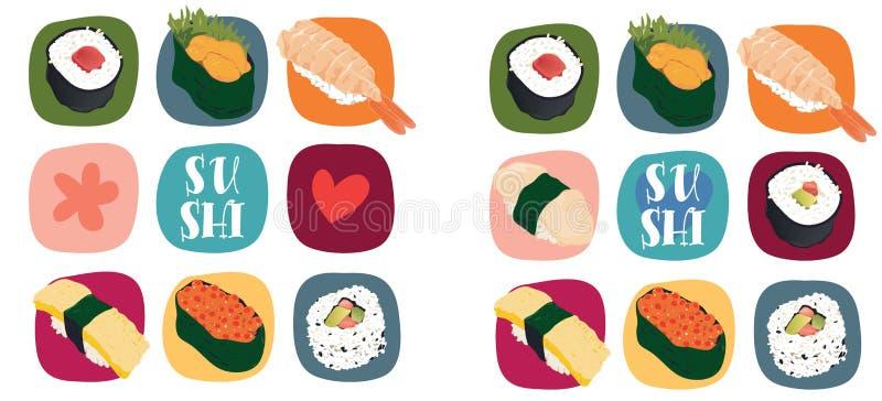 Amor del sushi ilustración del vector