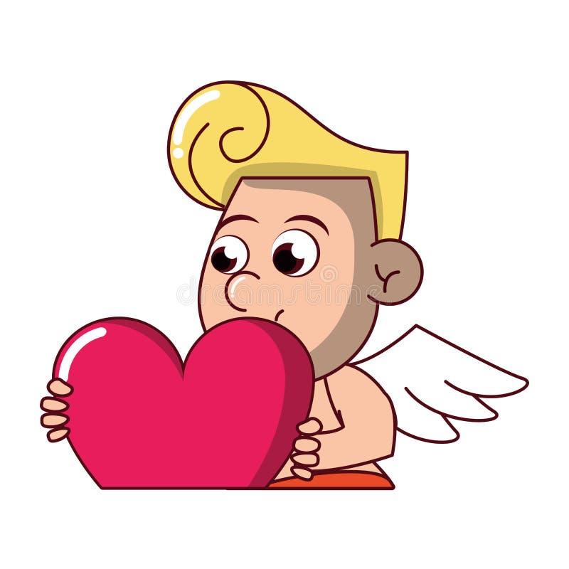 Amor, der Herz hält vektor abbildung