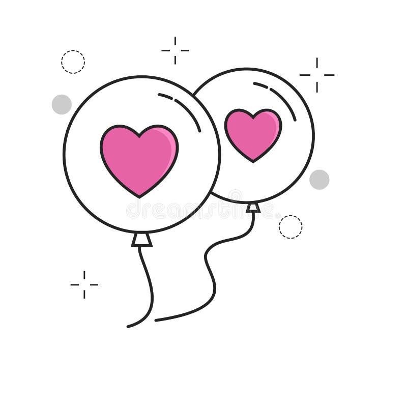 Amor do balão dos ícones do casamento com estilo enchido esboço ilustração royalty free