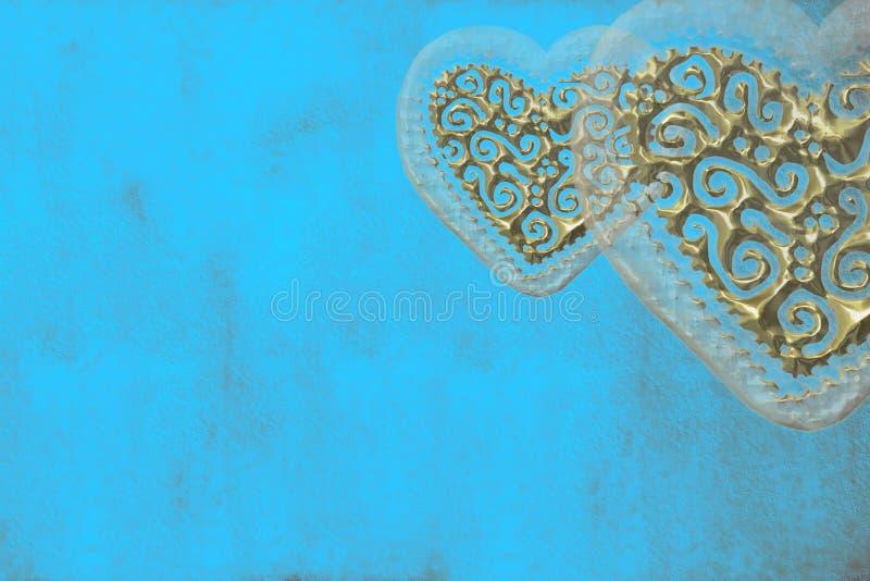 Amor do cartão, dois corações de ouro fotografia de stock