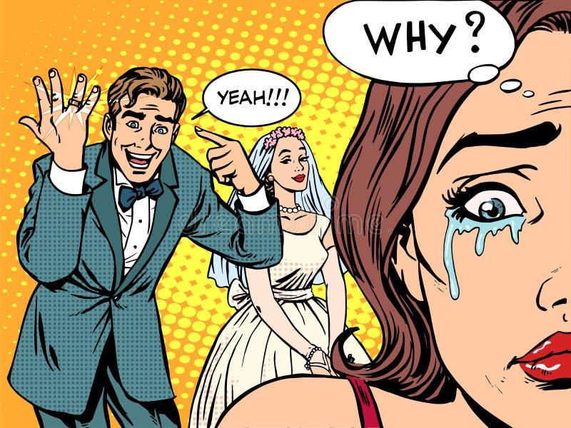 Amor do casamento da mulher do homem da inveja ilustração stock