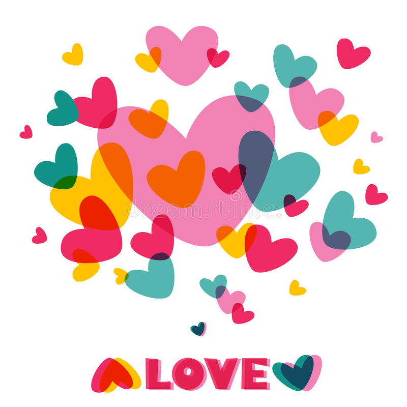 Amor do coração. Cartão do vetor do conceito com texto. ilustração stock