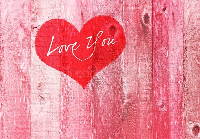 Amor do coração do dia de Valentim você madeira cor-de-rosa de Gretting do feriado imagens de stock royalty free
