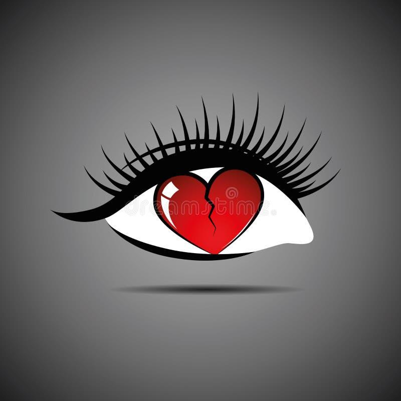 Amor do coração quebrado com o olho da mulher interna da quebra ilustração stock
