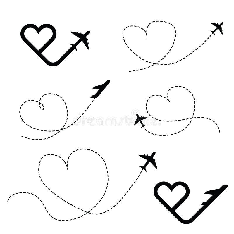 Amor do curso em ilustração ajustada do ícone do preto do coração ilustração stock