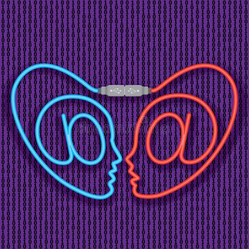 Amor do Cyber. Datar do Internet. (vetor, CMYK) ilustração royalty free