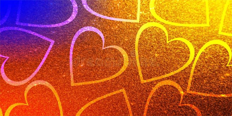 Amor do dia de são valentim do coração do fundo dos Valentim do brilho ilustração stock