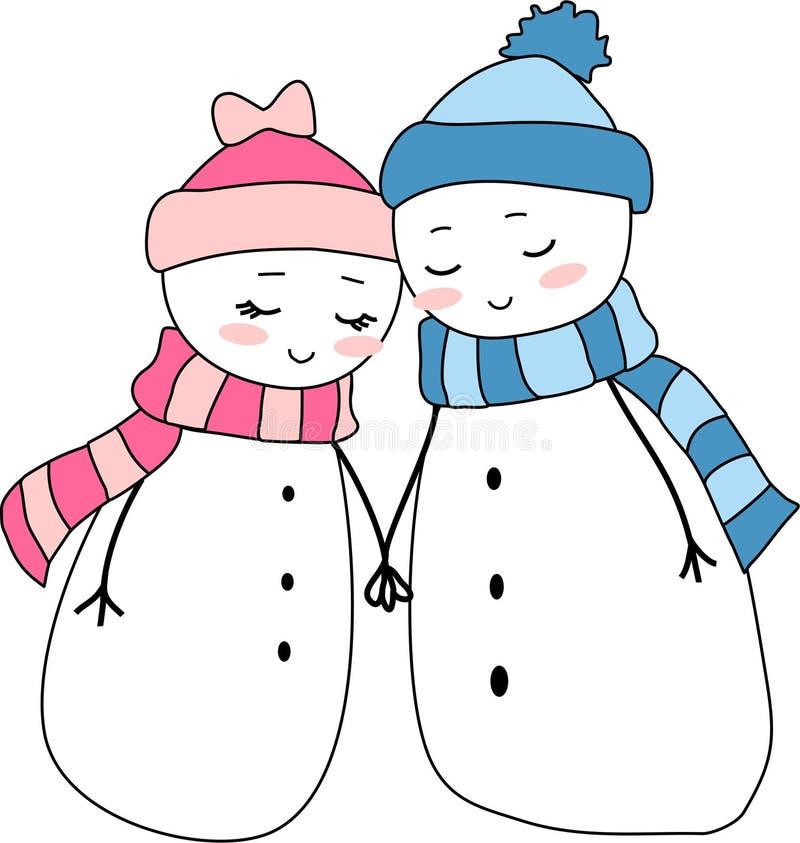 Amor do feriado do Natal dos pares dos bonecos de neve ilustração stock