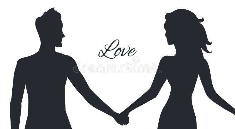 Amor do homem e da mulher descritos em posturas dos pares ilustração royalty free