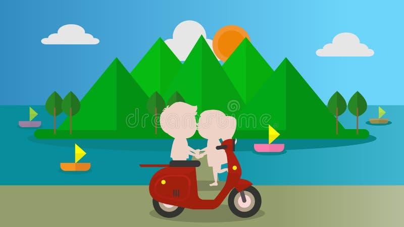 Amor do homem e das mulheres romântico ilustração do vetor
