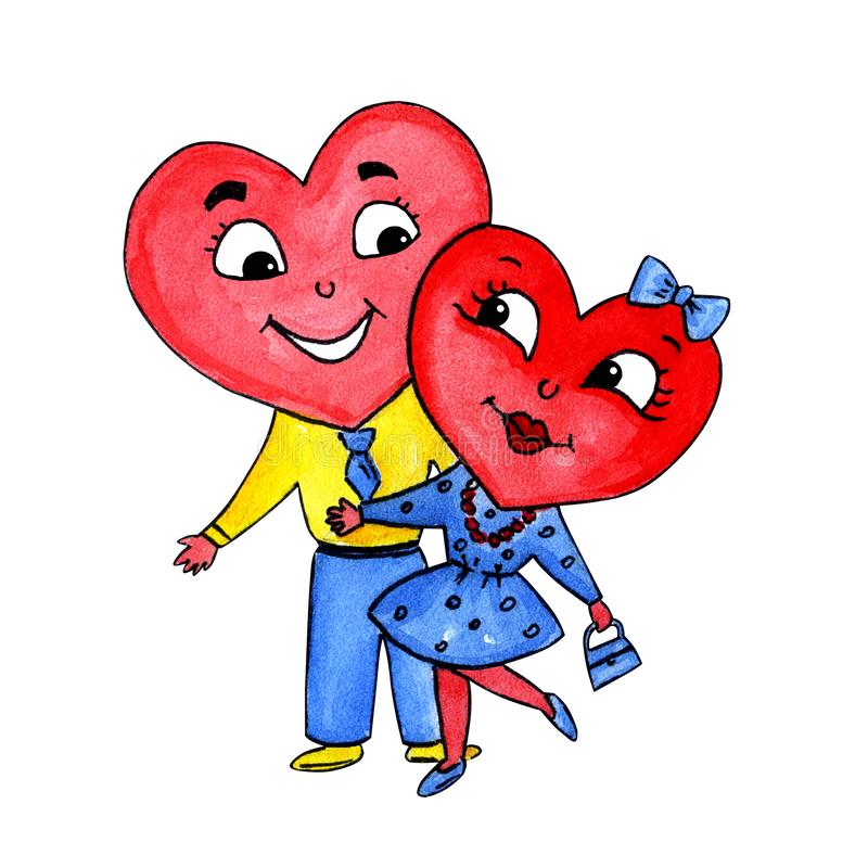 Amor do menino e da menina do coração dos caráteres ilustração stock