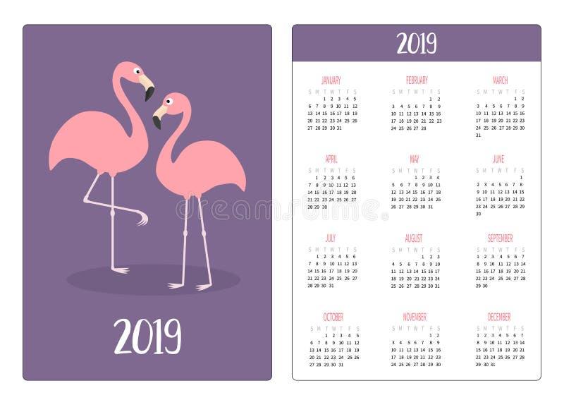 Amor do pássaro do flamingo Ano novo de disposição de calendário 2019 simples do bolso A semana começa domingo Orientação vertica ilustração stock
