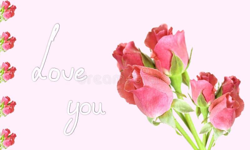 Amor do texto você em um cartão foto de stock royalty free