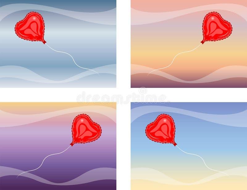 Amor do vetor do voo do balão do coração ilustração do vetor