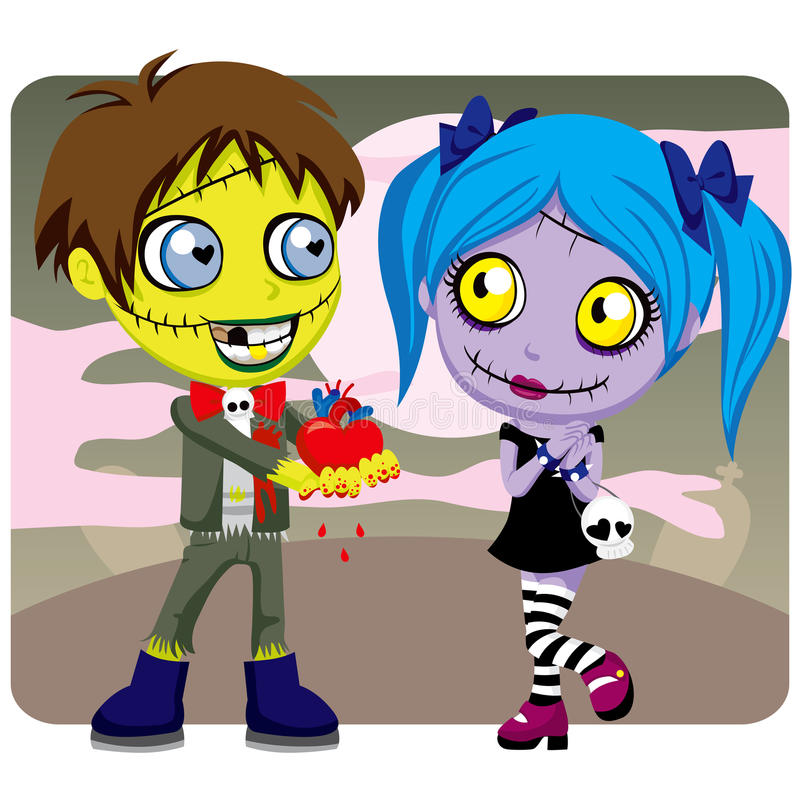 Amor do zombi do Valentim ilustração royalty free