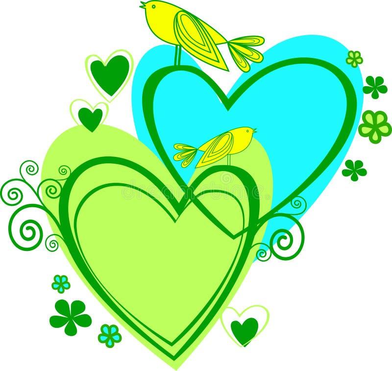 Amor: dos corazón y pájaros libre illustration