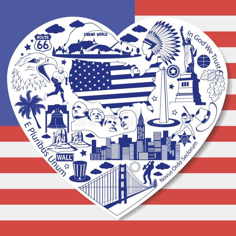 Amor dos EUA Isolado ajustado com ícones e símbolos americanos do vetor no formulário do coração ilustração royalty free
