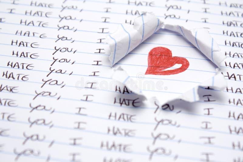 Amor e ódio imagem de stock