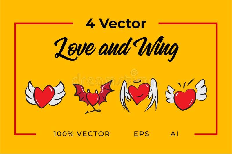 Amor e asa de 4 vetores imagens de stock