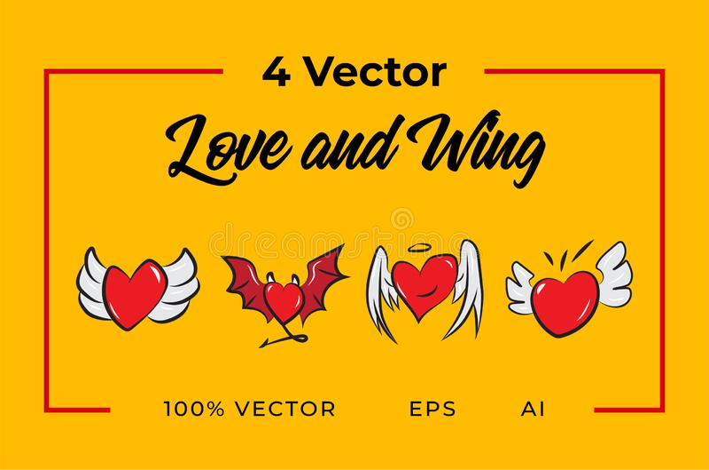 Amor e asa de 4 vetores fotografia de stock
