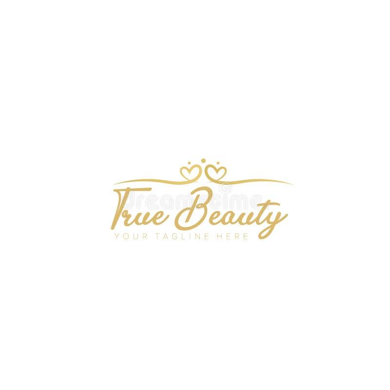 Amor e beleza Logo Design, tipografia ilustração stock
