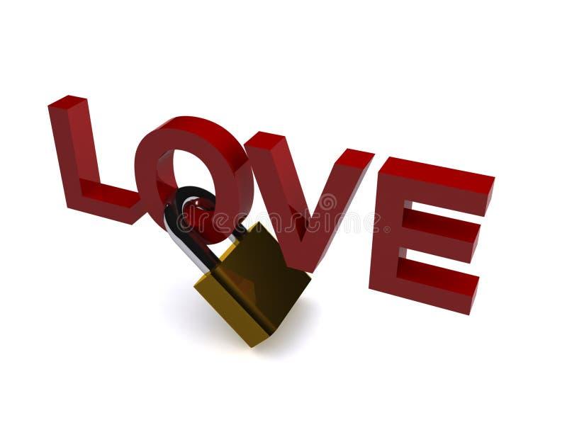 Amor e cadeado   ilustração do vetor