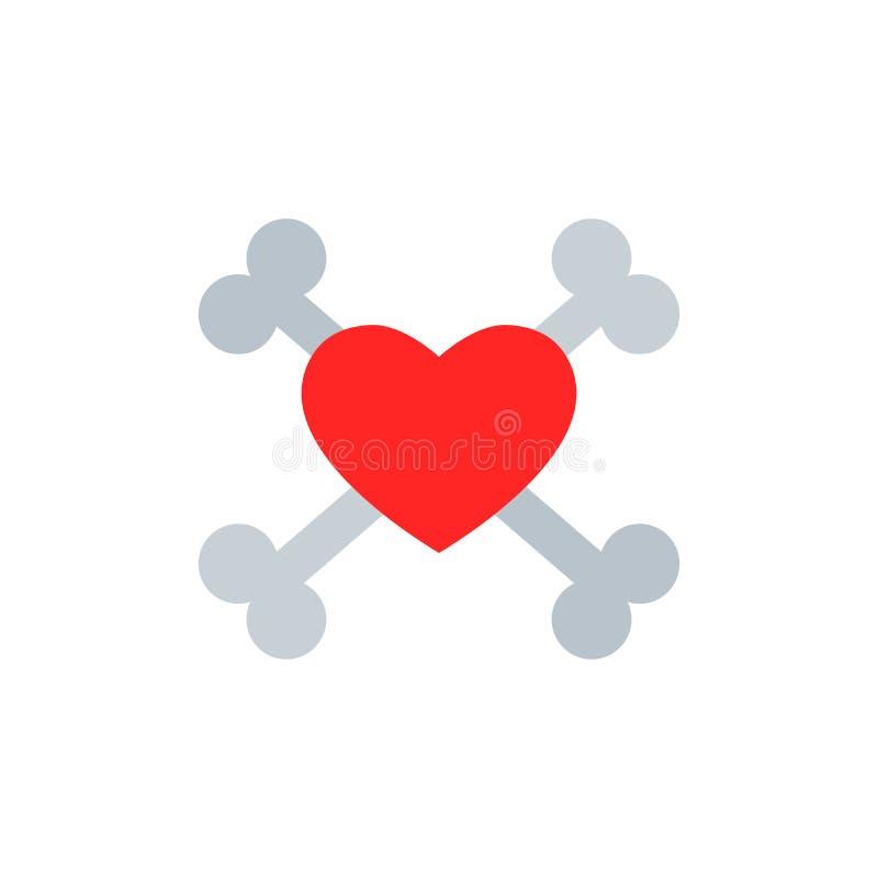 Amor e Crossbones Ilustração de vetor isolada ilustração royalty free