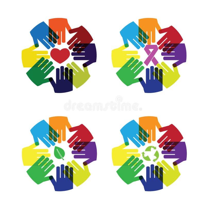 Amor e cuidado do círculo das mãos coloridos ilustração do vetor