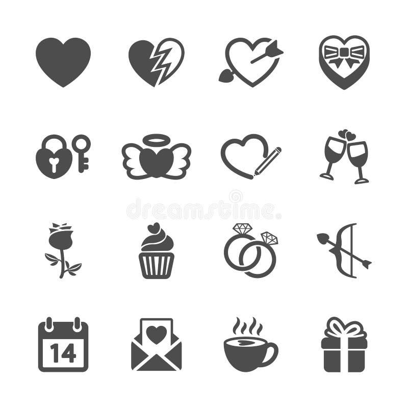 Amor e grupo do ícone do Valentim, vetor eps10 ilustração stock