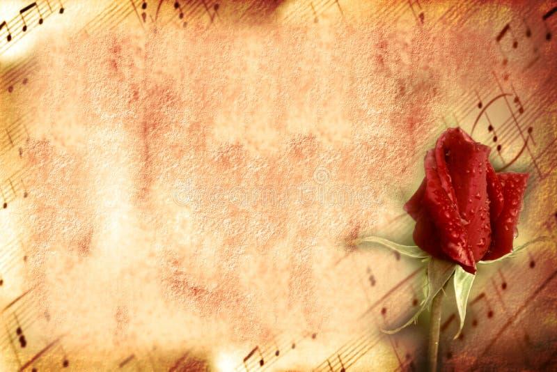 Amor e música do cartão do vintage fotografia de stock