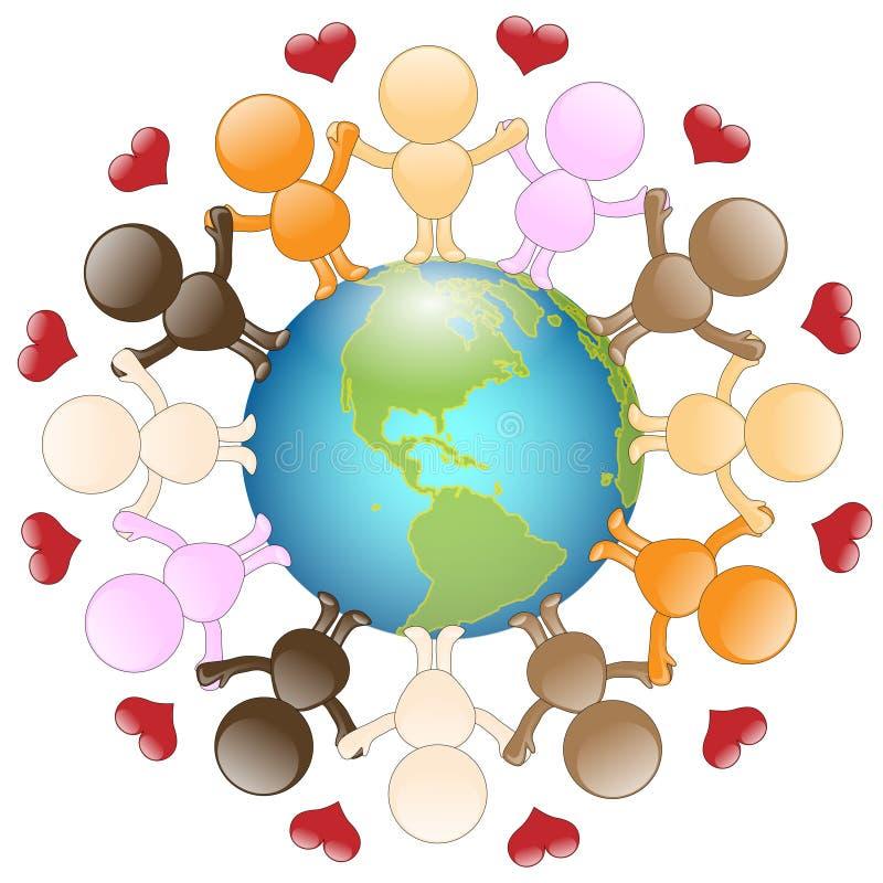 Amor e paz para o mundo ilustração royalty free