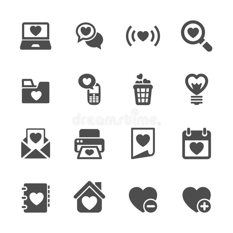 Amor e Valentim para o grupo do ícone do Internet, vetor eps10 ilustração do vetor