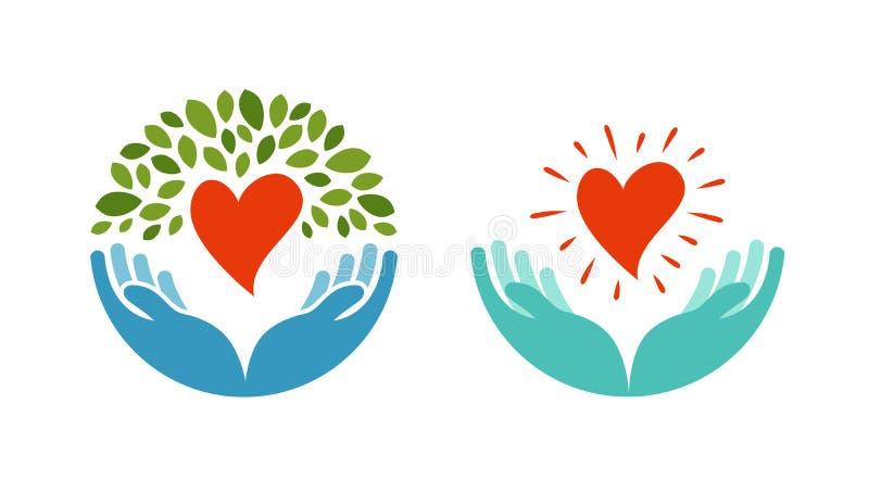 Amor, ecología, icono del ambiente Símbolo de la salud, de la medicina o de la oncología stock de ilustración