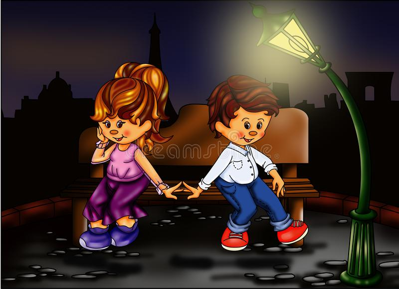 Amor em Paris ilustração stock