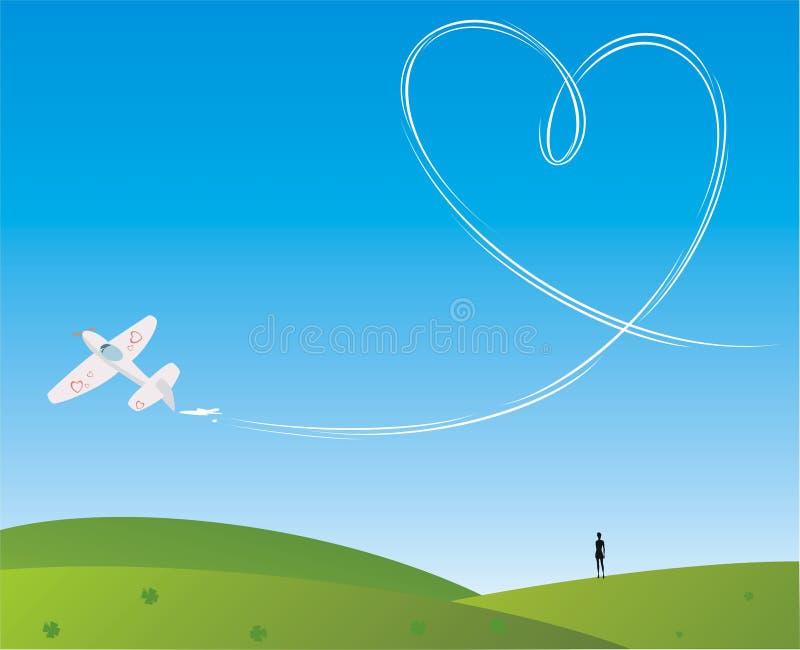 Amor en el cielo ilustración del vector