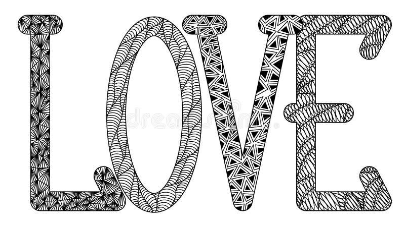 Amor en el estilo de zenart, l, o, v, e, dibujo en blanco y negro, doodle, zentangle, maraña, letras con motivos fotografía de archivo