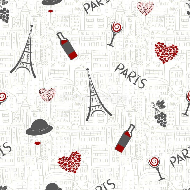 Amor en el fondo de París Modelo inconsútil stock de ilustración