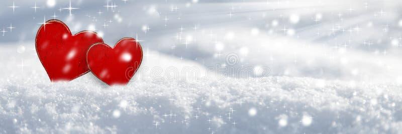 Amor en la nieve fotografía de archivo