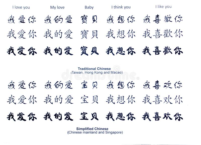 amor en palabras chinas foto de archivo