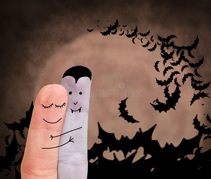 Amor entre o vampiro e o ser humano imagens de stock
