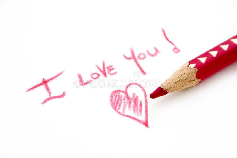 Amor escrito imagens de stock
