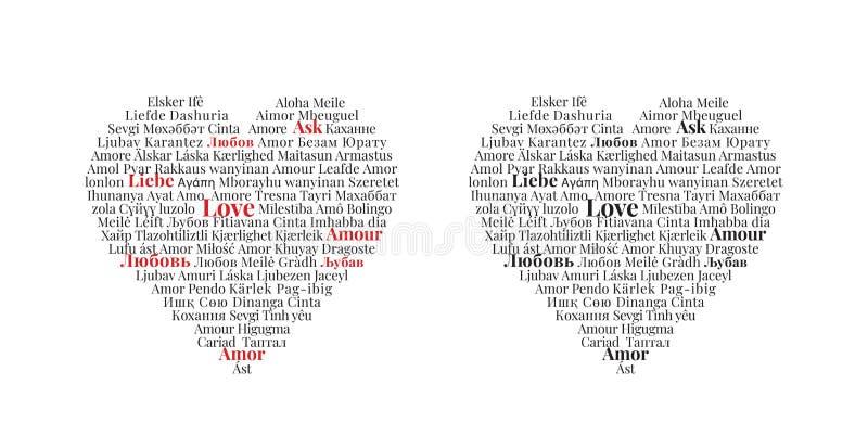 Amor escrito em línguas diferentes, projeto do coração, decalques da parede ilustração stock