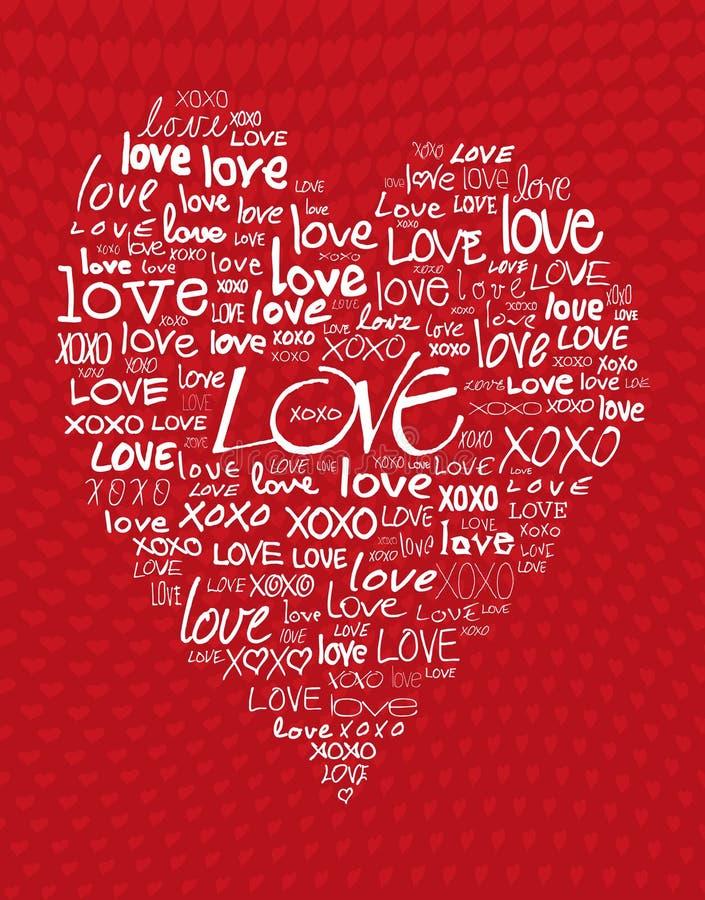 Amor escrito en diverso cursivo ilustración del vector