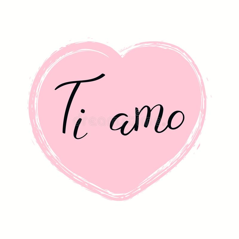 Amor escrito mano que usted cita en italiano ilustración del vector
