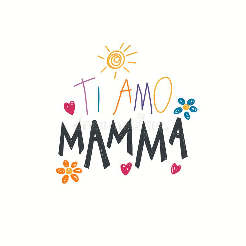 Amor escrito mano usted cita de la mamá en italiano ilustración del vector