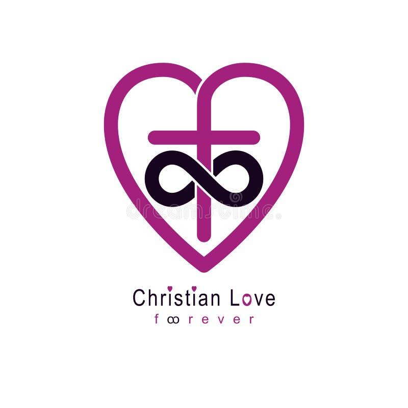 Amor eterno del diseño creativo del símbolo del vector de dios combinado con el lazo sin fin y Christian Cross y corazón, vector  ilustración del vector