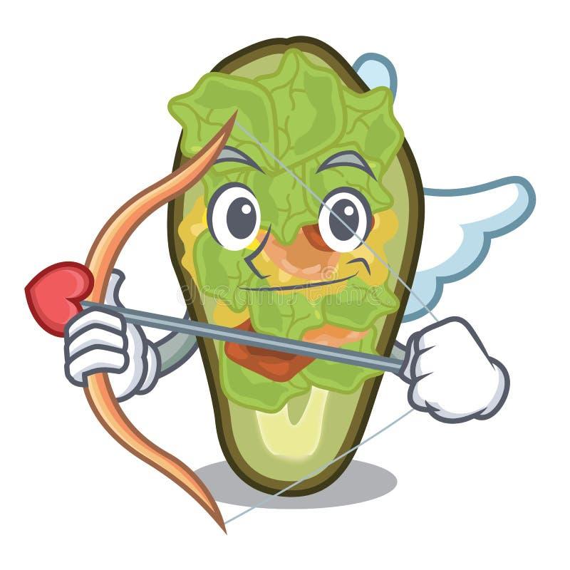 Amor füllte die Avocado an, die mit der Karikatur lokalisiert wurde stock abbildung