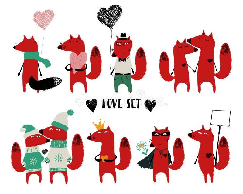 Amor fijado con el solos Fox y pares ilustración del vector