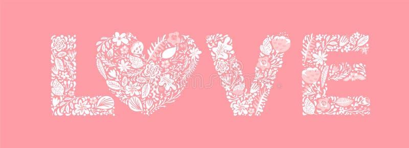 Amor floral da palavra do ver?o Letras de caixa principais do casamento da flor Fundo cor-de-rosa com flores brancas e folhas Vet ilustração stock