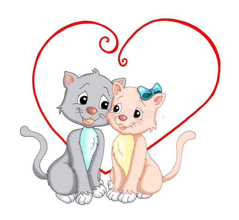 Amor. Gatos en amor stock de ilustración